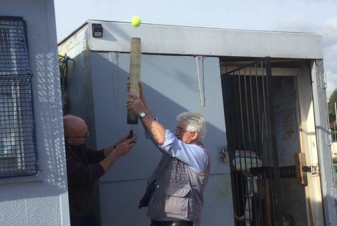 Expert demo of tennis ball launcher