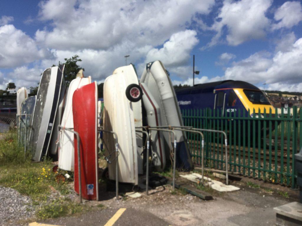 Dinghy Storage racks at Polly Steps, Teignmouth